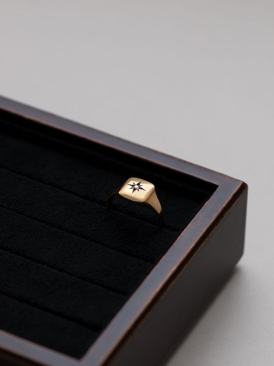 Signet square ring -inlay- L
