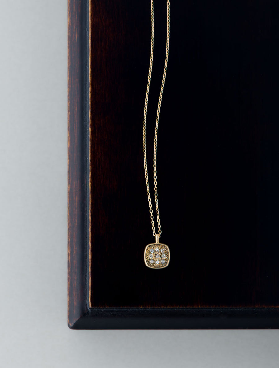 Pave square necklace