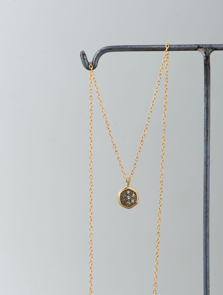 Pave hex necklace