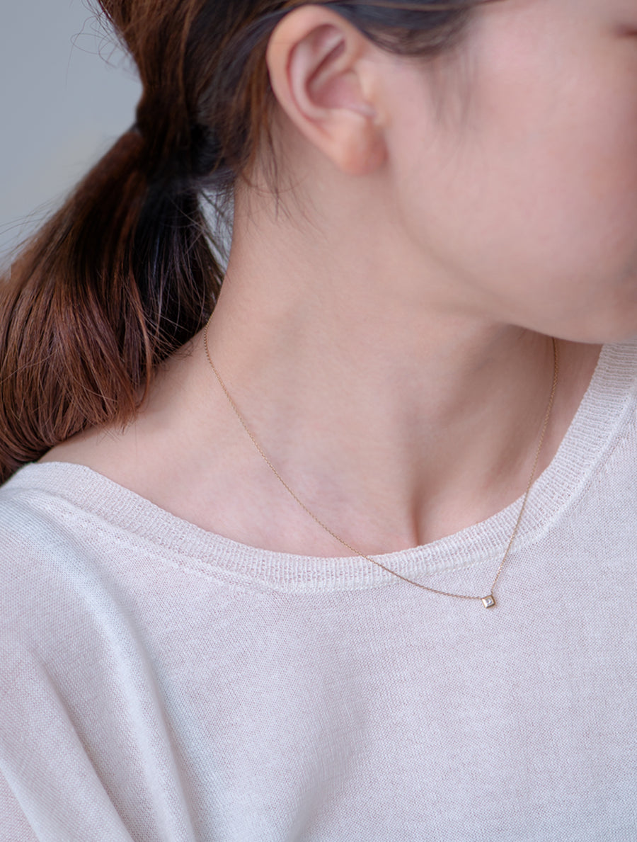 Nude diamond necklace -square-