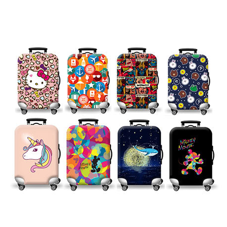 Luggage Cover - Hello Kitten Comic Colourful Mickey Mouse Pink Pony Horse Black Mickey Mouse Travel Rabbit,Chick,Frog