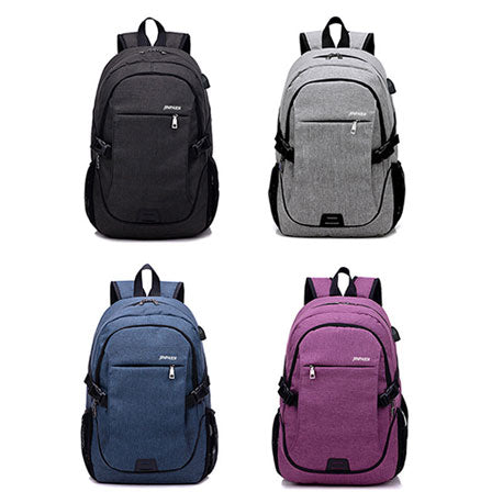 Waterproof Fabric Messenger Backpack with USB Charging Port