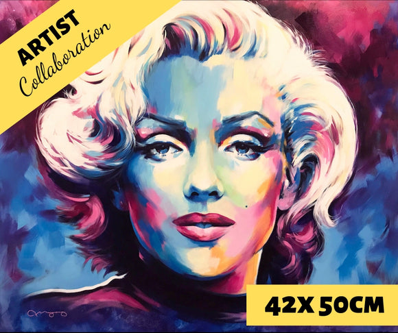 MARILYN BLUE by Jack Magurany Diamond Painting DIY Kit 42 x 50 cm FULL DRILL with LIGHTNING DIAMONDS