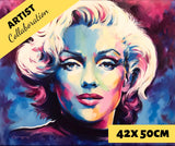 MARILYN BLUE by Jack Magurany Diamond Painting DIY Kit 42 x 50 cm FULL DRILL with LIGHTNING DIAMONDS - DIYMoon Shop