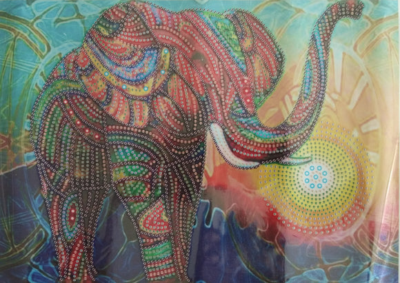 GLORIOUS ELEPHANT SUNRISE Diamond Painting DIY Kit 40 x 30 CM PARTIAL DRILL Rounds, Crystals, Gems and Electric Diamonds
