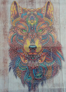 STUNNING MAYAN WOLF Diamond Painting DIY Kit 30 x 40 CM PARTIAL DRILL Rounds, Crystals, Gems and Electric Diamonds