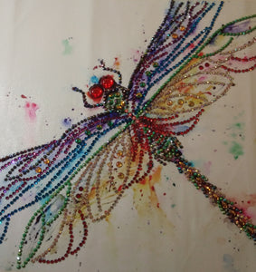 DARLING DRAGONFLY Diamond Painting DIY Kit 30 x 30cm PARTIAL DRILL Round Beads, Crystals, Gems and ELECTRIC DIAMONDS