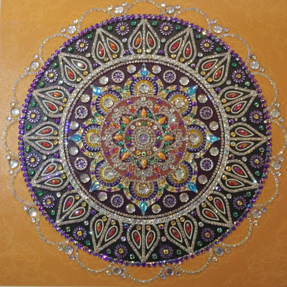 STUNNING ORANGE MANDALA Diamond Painting DIY Kit 36 x 36 CM PARTIAL DRILL Gems and Electric Diamonds