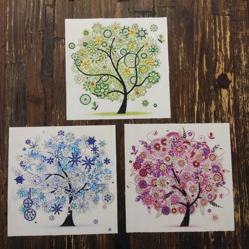 TREE TRIO (3-Piece Set) Diamond Painting DIY Kit 20 x 20cm PARTIAL DRILL Round Beads with ELECTRIC & LIGHTNING DIAMONDS
