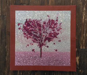 PURPLE LOVE Diamond Painting DIY Kit  25 x 25 cm Multi-Sized Crystals and Electric Diamonds