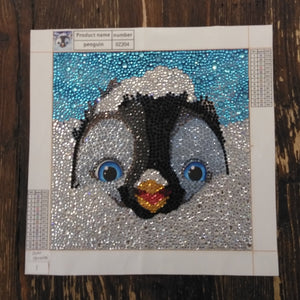 SNOW PENGUIN Diamond Painting DIY Kit  20 x 20 cm Multi-Sized Crystals and Electric Diamonds