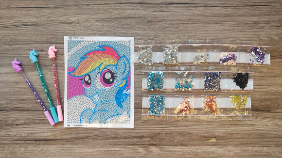 BLUE UNICORN CRYSTAL PAINTING & UNICORN DRILL PEN SET - DIYMoon Shop
