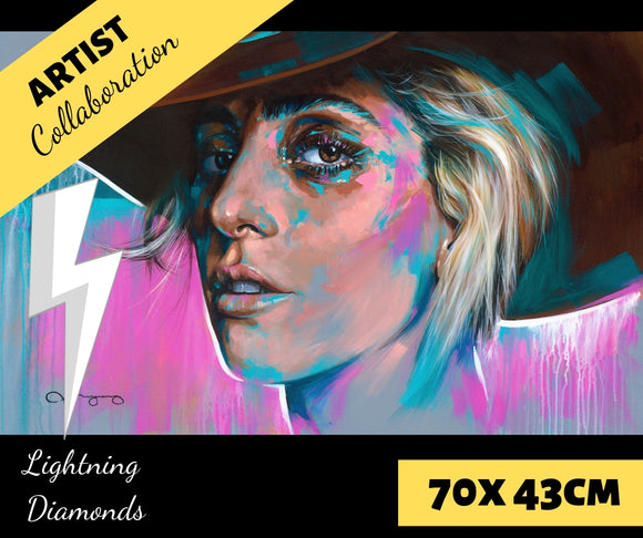 GAGA by Jack Magurany Diamond Painting DIY Kit 70 x 43 cm FULL DRILL with LIGHTNING DIAMONDS