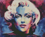 MARILYN BLUE by Jack Magurany Diamond Painting DIY Kit 33 x 40 cm FULL DRILL with LIGHTNING DIAMONDS