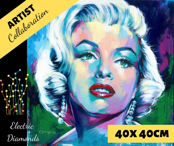 MONROE by Jack Magurany Diamond Painting DIY Kit 40 x 40 cm FULL DRILL with ELECTRIC DIAMONDS - DIYMoon Shop