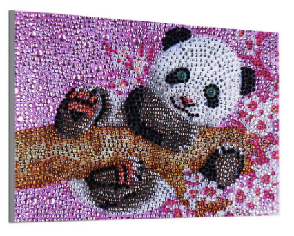 PANDA BLOSSOM Diamond Painting DIY Kit  20 x 15 cm Multi-Sized Crystals and Electric Diamonds