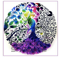 PURPLE COIN PEACOCK Diamond Painting DIY Kit 42 x 42 cm PARTIAL DRILL Round Beads