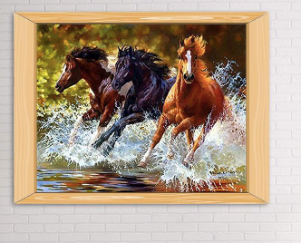 GALLOP Diamond Painting DIY Kit 40 x 30 cm FULL DRILL Round Beads