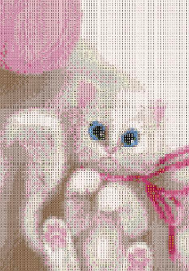 COTTON KITTY Diamond Painting DIY Kit 30 x 40 cm FULL DRILL Round Beads