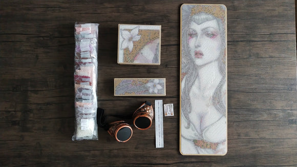 TAIYO NAUTA NOUVEAU by Medusa The Dollmaker BEAD BOARD WITH DIAMOND PAINTING BOXES & STEAMPUNK GOGGLES SET  Diamond Painting Tools and Accessories