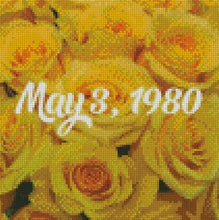 Custom Order - YELLOW ROSES 30x30cm with Electric Diamonds for Date