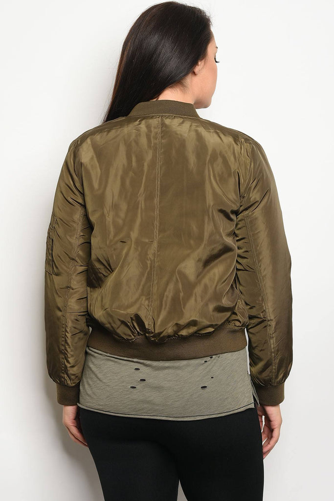 Ladies fashion plus size bomber jacket that hits just at the waist and features zipper closures - Flix Shopping
