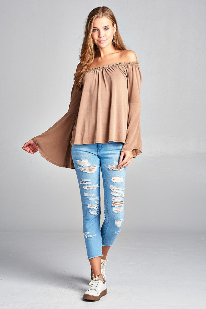 Ladies fashion bell sleeve off the shoulder sandwashed modal jersey top - Flix Shopping
