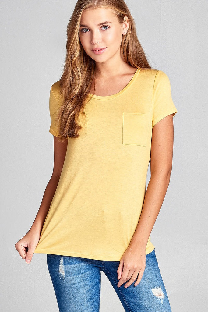 Ladies fashion short sleeve scoop neck top w/ pocket - Flix Shopping