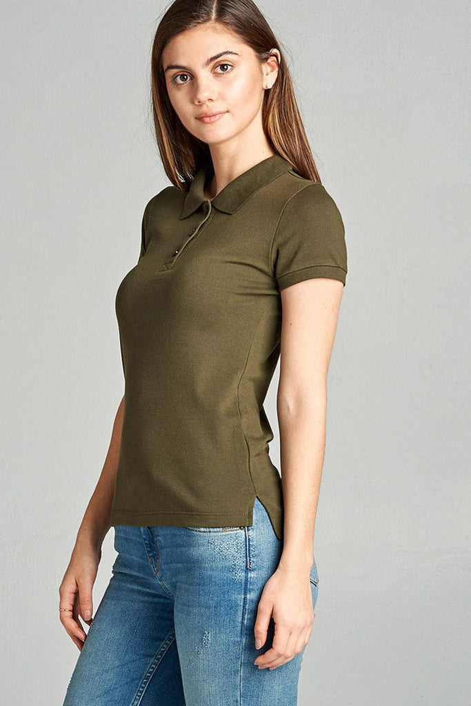 Ladies fashion plus size classic pique polo top - Flix Shopping