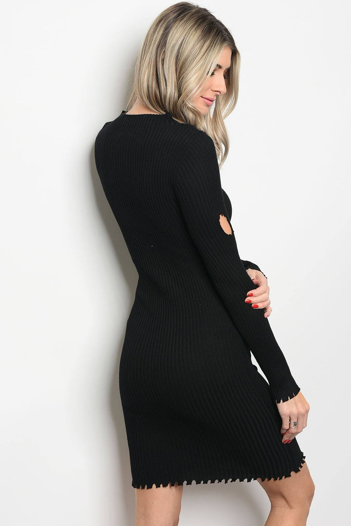 Ladies fashion long sleeve ribbed knit fitted bodycon dress with distressed details and a mock neckline - Flix Shopping
