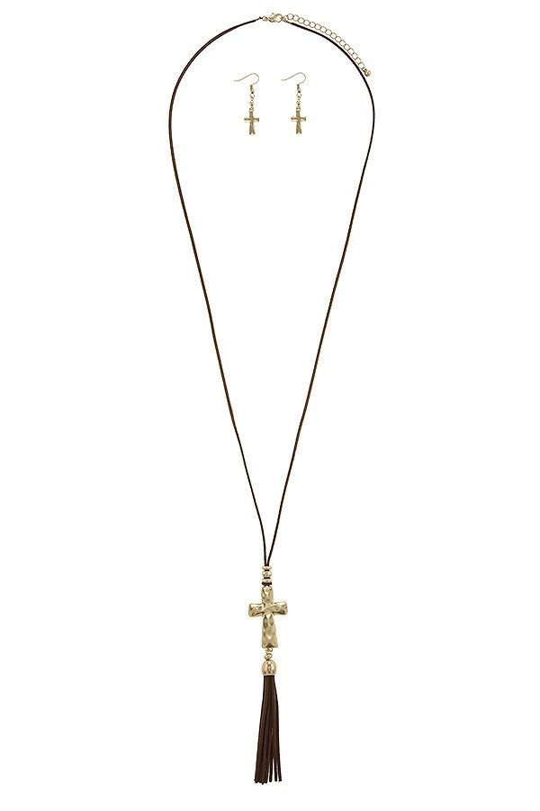 Faux suede tassel cross necklace set - Flix Shopping