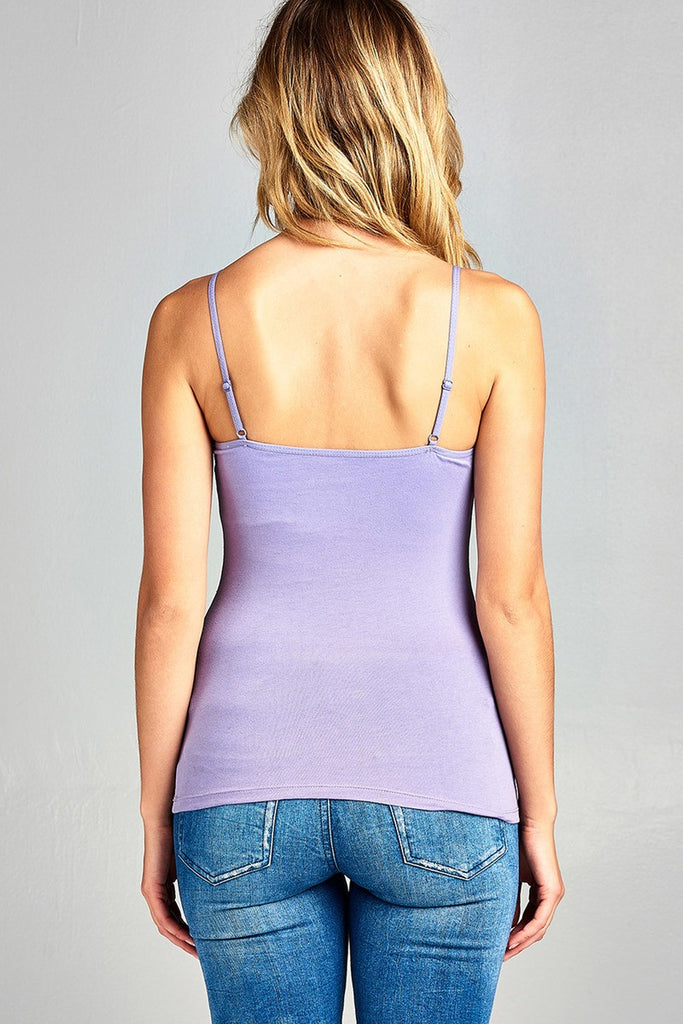 Ladies fashion basic adjustable spaghetti strap cropped cami w/ shelf bra - Flix Shopping