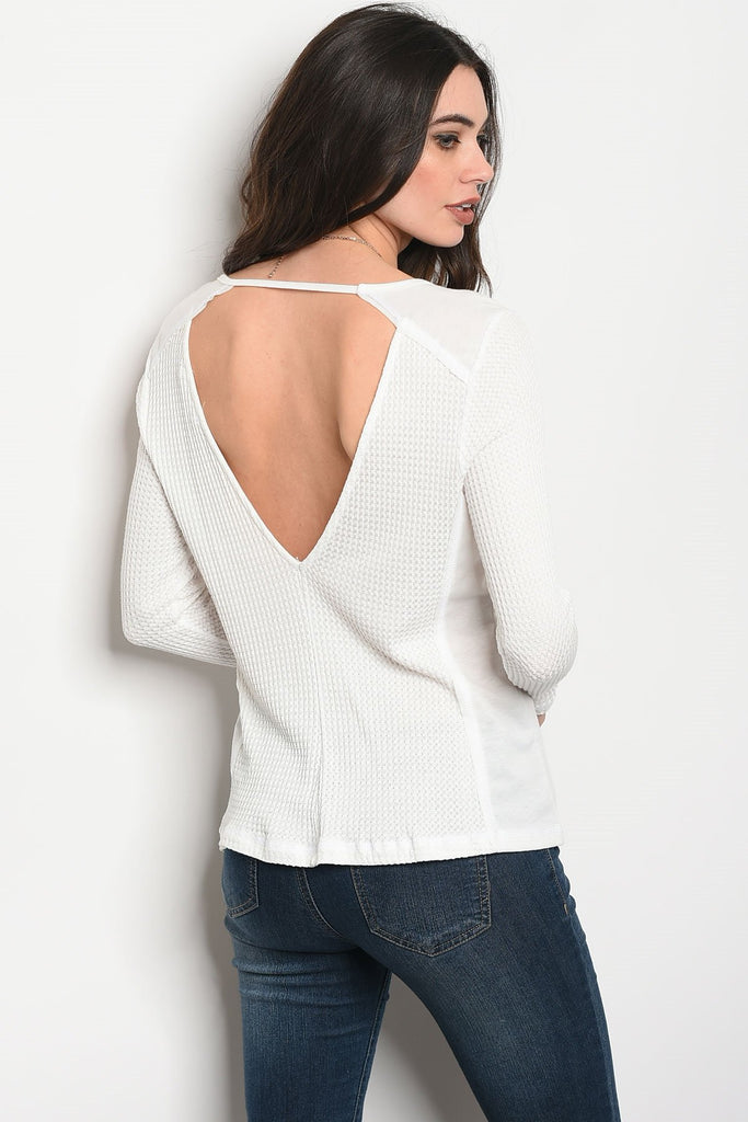 Ladies fashion long sleeve relaxed fit thermal top that features a v neckline - Flix Shopping