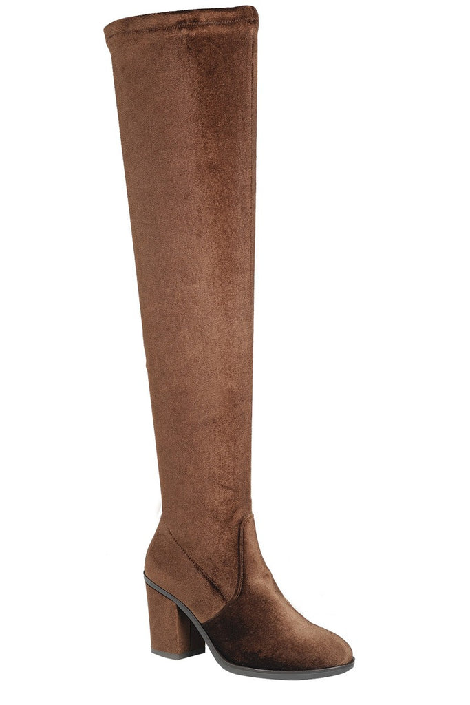 Ladies fashion suede craftsmanship lends textural richness to the tall boot, knee-high boot, closed round toe, block heel. - Flix Shopping