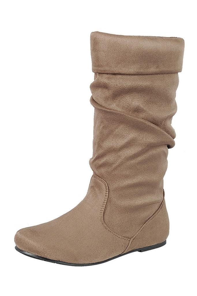 Ladies fashion ruched wedge boot is edgy, dress casual and chic, knee-high boot, closed almond toe, micro wedge heel - Flix Shopping