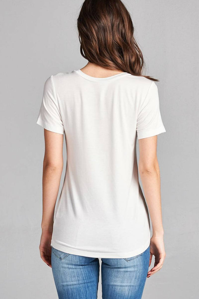 Ladies fashion short sleeve round neck zippered pocket top - Flix Shopping