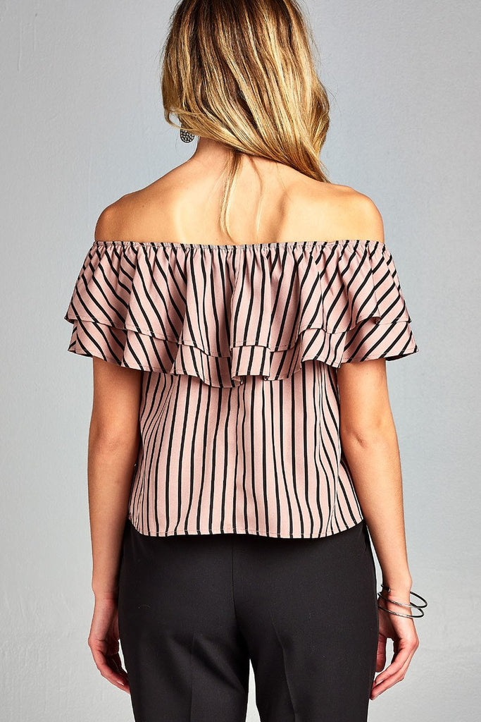 Ladies fashion double ruffled flounce off the shoulder stripe print woven top - Flix Shopping