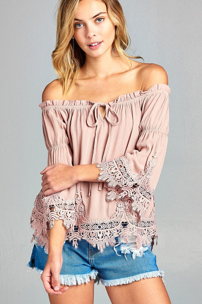 Ladies fashion short sleeve w/crochet trim off the shoulder front ribbon tie crinkle gauze woven top - Flix Shopping