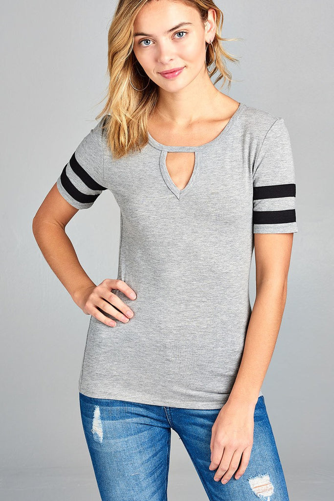 Ladies fashion short w/double stripe sleeve choker keyhole cotton spandex top - Flix Shopping