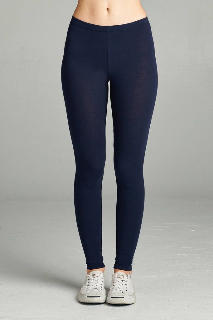 Ladies fashion plus size basic full-length cotton spandex leggings - Flix Shopping
