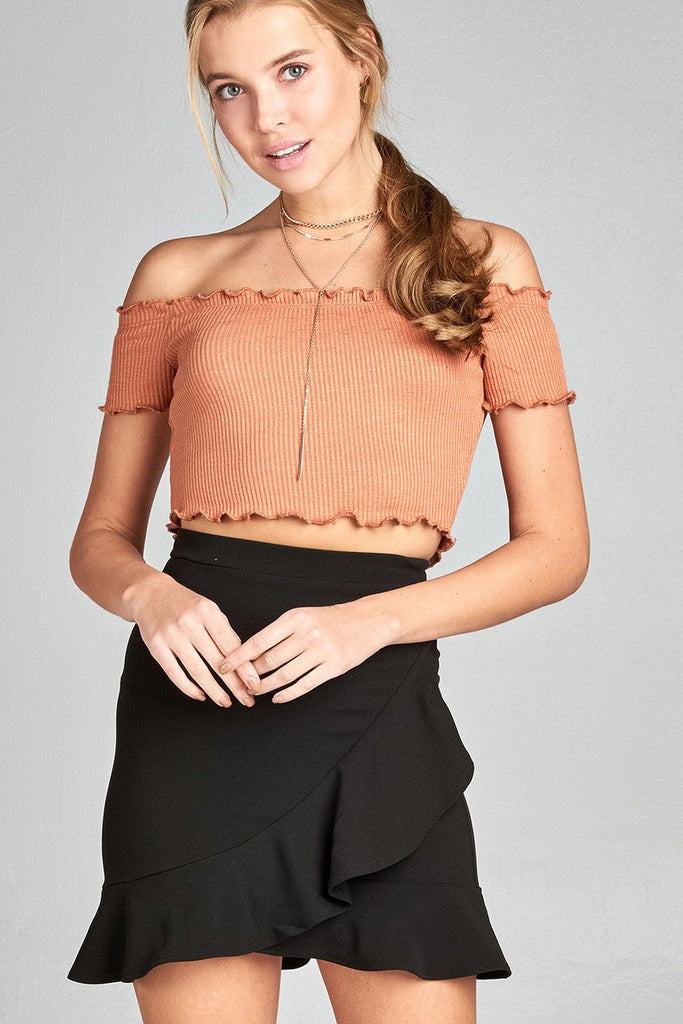 Ladies fashion short sleeve off the shoulder merrow crop top - Flix Shopping