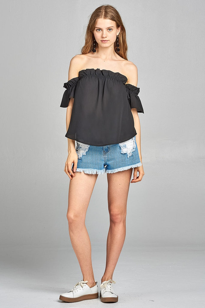 Ladies fashion short sleeve off the shoulder ruffled hem w/elastic detail wool dobby woven top - Flix Shopping