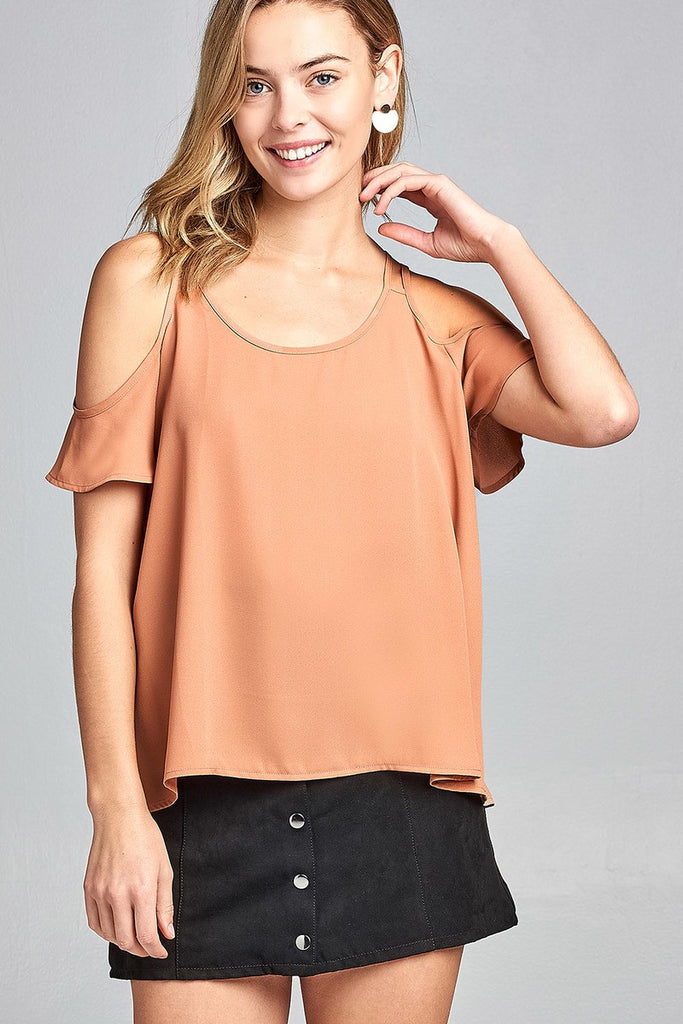 Ladies fashion open shoulder short sleeve wool dobby top - Flix Shopping