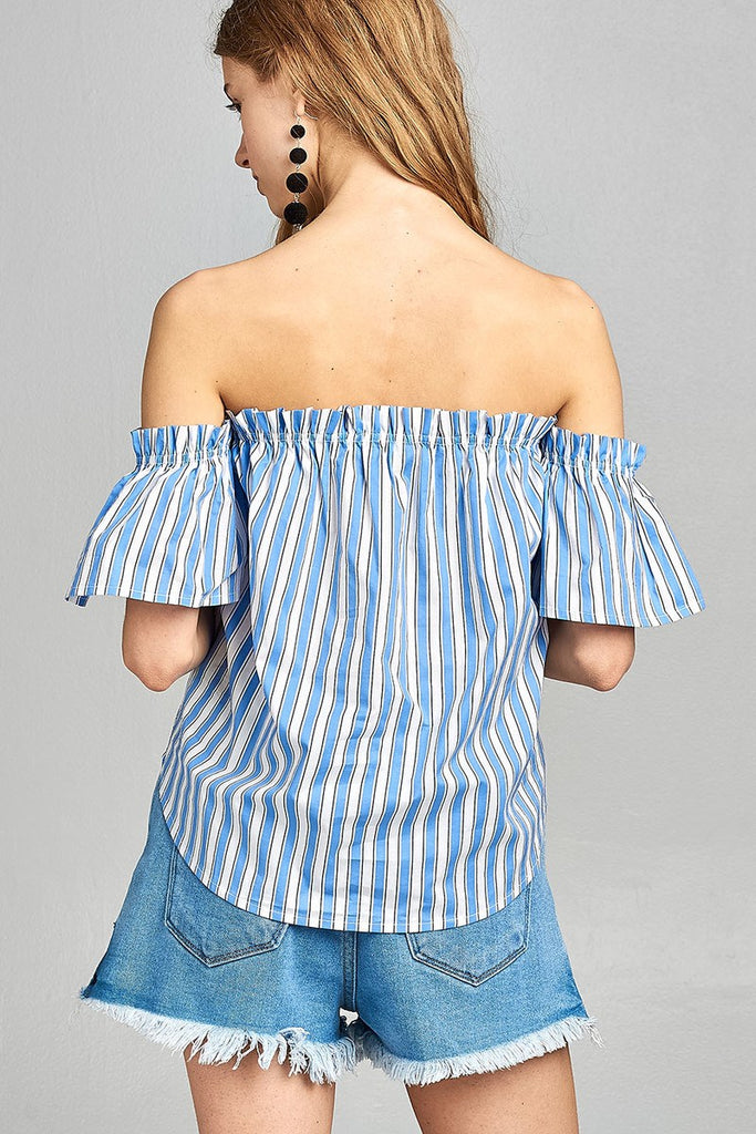 Ladies fashion short sleeve off the shoulder multi stripe top - Flix Shopping