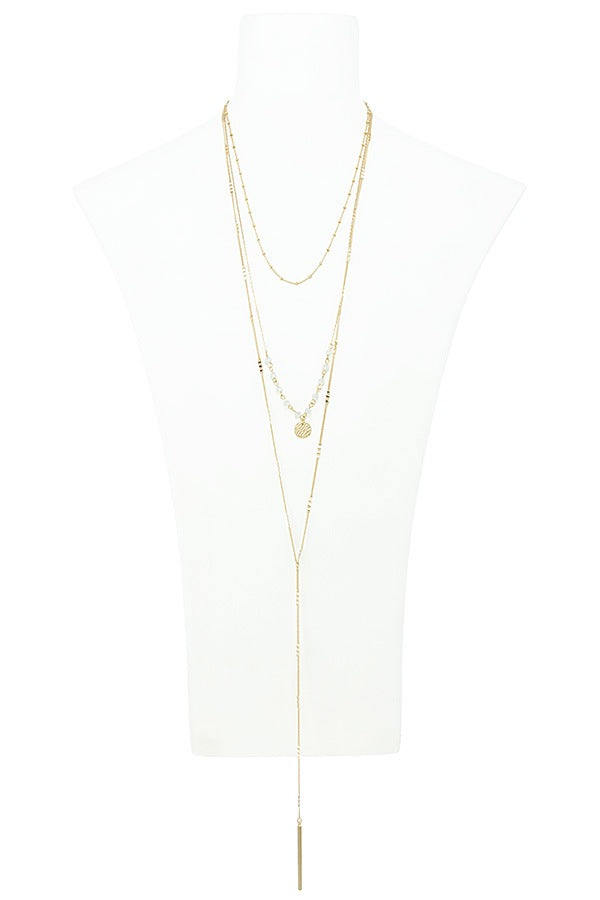 Linear bar accent multi layer lariat necklace - Flix Shopping
