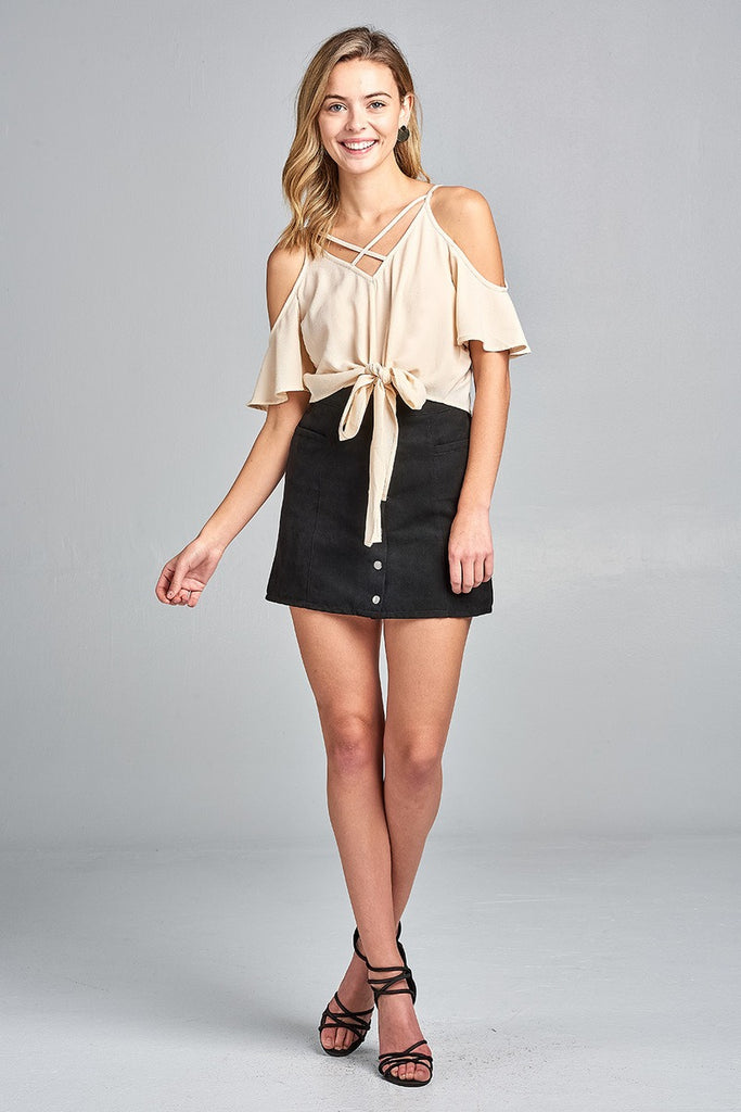 Ladies fashion short sleeve open shoulder v-neck w/cross strap front self-tie crepe woven top - Flix Shopping