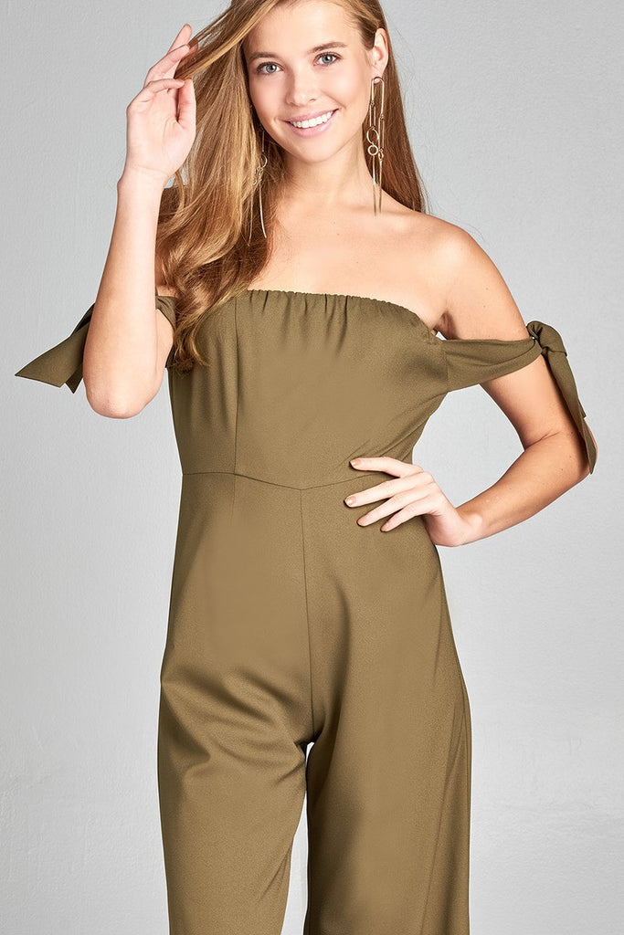 Ladies fashion tube line w/self bow tie sleeve woven jumpsuit - Flix Shopping