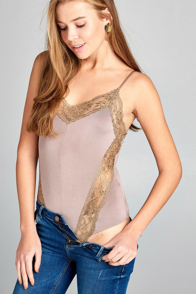 Ladies fashion v-neck w/contrast lace trim poly spandex knit cami bodysuit - Flix Shopping