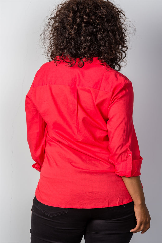 Ladies fashion plus size red roll-sleeve plus size top - Flix Shopping