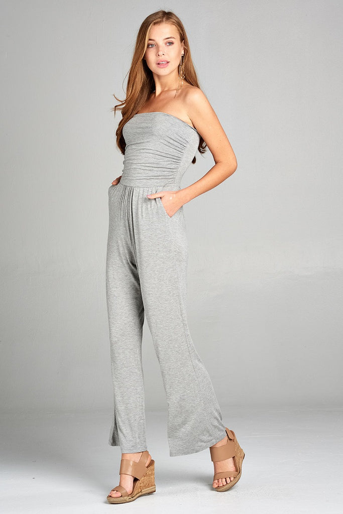 Ladies fashion tube top long wide leg rayon spandex jumpsuit - Flix Shopping